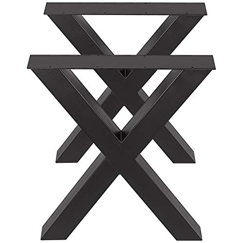 VEVOR Patas de Mesa, 720 X 600 mm Mesa de Comedor de Metal en Forma de X Escritorio Negro, Conjunto de 2 Patas de Mesa de Acero de Calidad, Patas para Muebles Tienda de Café Bar de Oficina en Casa