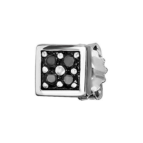 Cai Herren Ohrstecker 925/- Sterling Silber 6,5mm Glänzend Spinell Silbergrau 0,004ct 132210504