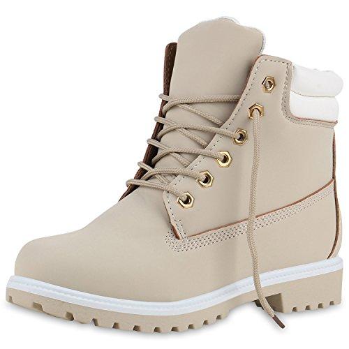 SCARPE VITA Damen Stiefeletten Outdoor Schuhe Worker Boots Gesteppt 149006 Hellgrau Beige 36