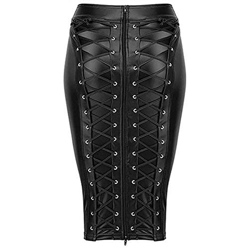 Falda de moda Falda de la rodilla Longitud de la rodilla MÁS TAMAÑO PU Falda de cuero Atrás Lace Up Zipper Bodycon Faux Cuero Faldas (Color : Black, Size : Small)