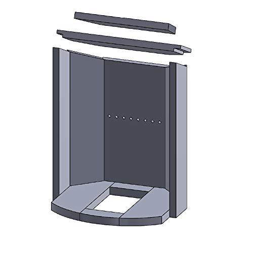 Flamado Feuerraumauskleidung Komplettset 11-teilig passend für Justus Kamin Ersatzteile Kaminofen Brennraumauskleidung Vermiculite 1.150°C