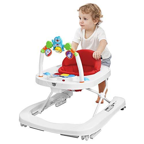 DREAMADE Lauflernhilfe, Baby Walker Gehfrei, Laufhilfe mit Spielzeugen, Lauflernwagen, Laufstuhl Höhenverstellbar (Pink)