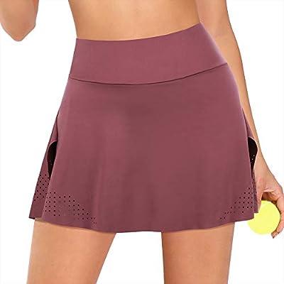 JOYMODE Women's Athletic Skorts Tennis Golf Sports Skirts with Shorts Lightweight Active Skirts (Palevioletred, US 4-6=S)