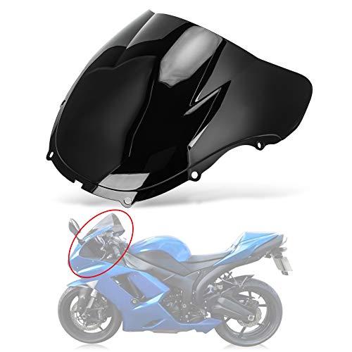 Motocicletta Doppia protezione dello schermo del parabrezza Shield Vento per parabrezza per Kawasaki Ninja ZX6R 636 2005-2008 ZX10R 2006-2007 (Nero)