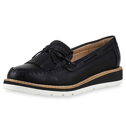 SCARPE VITA Damen Slipper Mokassins Fransen Profilsohle Schuhe Leder-Optik 172753 Schwarz 38