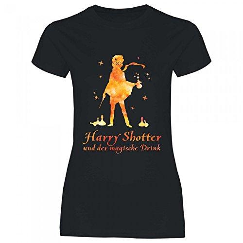 Royal Shirt a37 Damen T-Shirt Harry Shotter und der magische Drink | Funshirt Geschenk Heirat Braut JGA Karneval, Größe:XXL, Farbe:Black