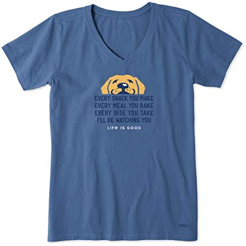 Life is Good Women's Standard Crusher V-Neck Graphic T-Shirt, Vintage Blue, Medium