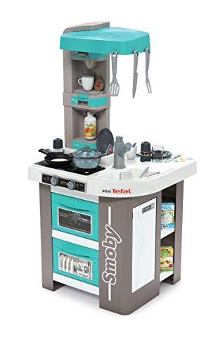 Smoby Tefal Studio Bubble Küche Spielküche für Kinder mit vielen Funktionen, Töpfen, Pfannen, Küchenbesteck, Herd, Ofen für Kinder ab 3 Jahren