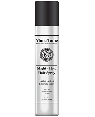 Mane Tame Mighty Hold Hair Spray for Men 10oz - Barber Edition, Fast Drying, Humidity Resistant, Firm Hold - Best used as a Finishing Spray