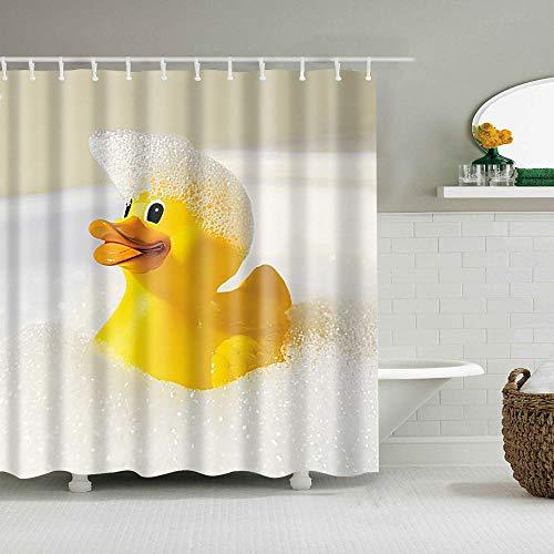 HNFY Duschvorhang Anti-Schimmel Textil Waschbar, Anti-Bakteriel Badvorhänge 3D Wasserdicht Duschvorhänge , Gelbe Ente mit 12 Ringe für Badezimmer 240x200cm