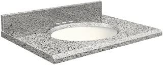 Samson G4919-F4-E-W-8 Granite Vanity Top 49x19 with Single Undermount White Bowl 8-Inch Beveled Edge Rosselin White