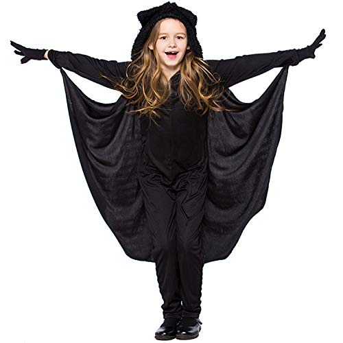 Costumi da Pipistrello per Bambini con Guanti, Abbigliamento per Ragazze, Vestiti per Spettacoli Teatrali Scolastici di Carnevale di Halloween Party Masquerade,Nero,S