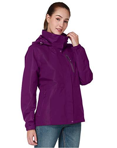CAMEL CROWN Damen Outdoor RegenJacke mit Kapuze Wasserdichte Jacket Winddichte Rain Jacket Funktionsjacke Übergangs Jacke Damen Regenmantel Windbreak Anti-Schnee