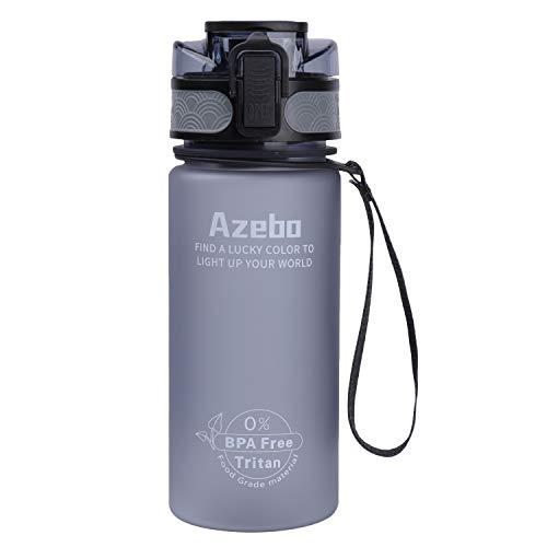 Azebo Botella de agua de 500 ml con infusor de frutas, Tritan, sin BPA, reutilizable, a prueba de fugas, para la oficina al aire libre, 0,5 litros, color gris