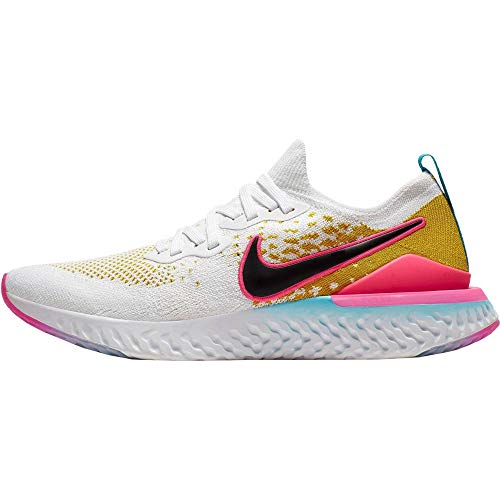Nike Men's Epic React Flyknit 2 Running Shoes (White/Black-Pink Blast, 10.5)