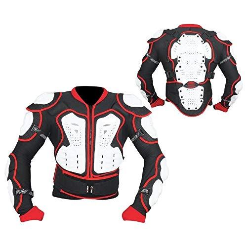 BI ESSE Pettorina Protezione completa moto enduro paraschiena cross moto cross mtb omologate CE (NERO/BIANCO/ROSSO, XL)