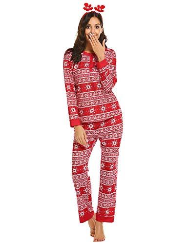 Ekouaer Women Christmas Vacation Pajamas Long Sleeve Holiday Sleepwear snowflake Print Pj Set Red Large