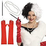Women Cruel Lady Costume Wig Set with Gloves, Cigarette Holder and Necklace Short Bob Wavy Wig Halloween Wig Cosplay Party Accessories (Black and White)