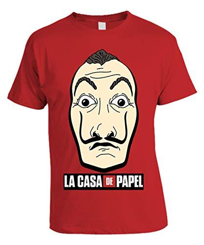 Casa de Papel La Casa di Carta - Tshirt Rossa Stampa Frontale Logo Maschera Dalì - Prodotto Ufficiale 100% Originale - Netflix Serie TV (M)