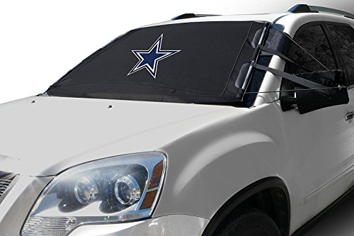 NFL Frost Guard Windshield Cover for Ice and Snow, Dallas Cowboys | Standard Size Car Windshield Cover, Black | Fits Most Compact Cars, Sedans, Small Trucks, SUVs – 60 x 40 Inches