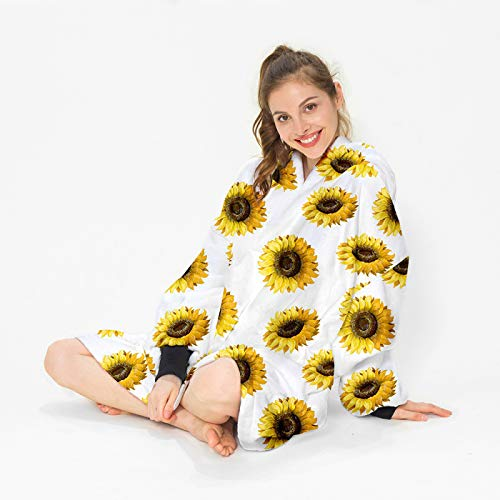 YUNSW 3D Sunflower Print Thicken And Warm In Winter Tv Blankets Hooded Sweater Blankets Children'S And Adult Hooded Blankets