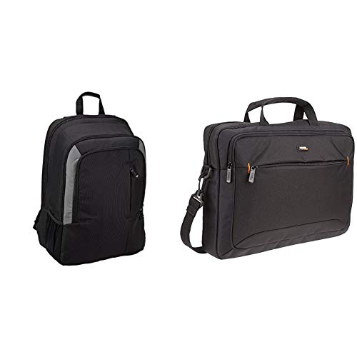Amazon Basics 15 Inch Laptop Backpack & Compact Laptop Shoulder Bag Carrying case with Accessory Storage Pockets (15.6 inch - 40 cm), Black, 1-Pack