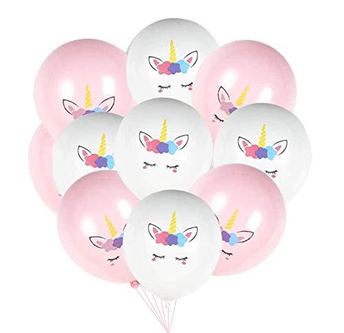 50 Stücke Einhorn Luftballons Satz 12 Zoll Latex Einhorn Luftballons, für Geburtstag Hochzeit Baby Duschen Party Decor Valentinstag Dekoration - Weiß&Pink
