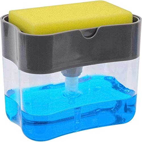 Kytree Dish Soap Pump Dispenser-Rust Proof Durable-Instant Refill Counter Top Sink Dispenser with Sponge Holder 2-in-1 Best for Family School Office-Kitchen Manual Soap Liquid Box Dispenser Press
