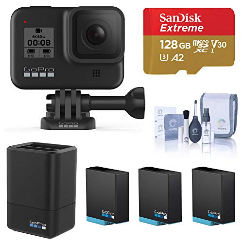 GoPro HERO8 Black, Waterproof Digital Sports and Action Camera with Touch Screen 4K UHD Video 12MP Photos, Power Bundle with Dual Charger, 3 Batteries, 128GB microSD Card, Cleaning Kit