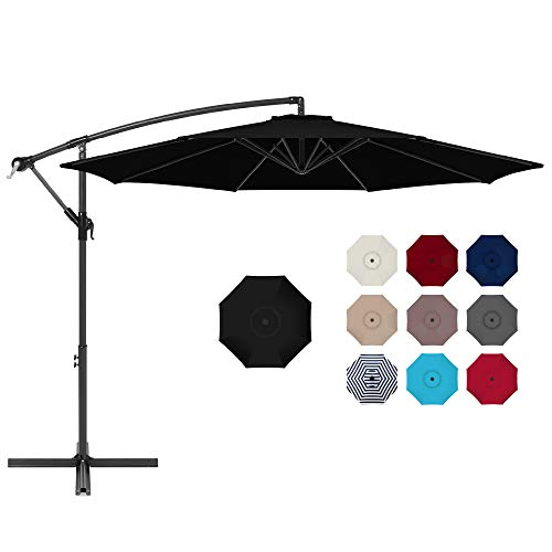 Best Choice Products 10ft Offset Hanging Market Patio Umbrella w/Easy Tilt Adjustment, Polyester Shade, 8 Ribs for Backyard, Poolside, Lawn and Garden - Black
