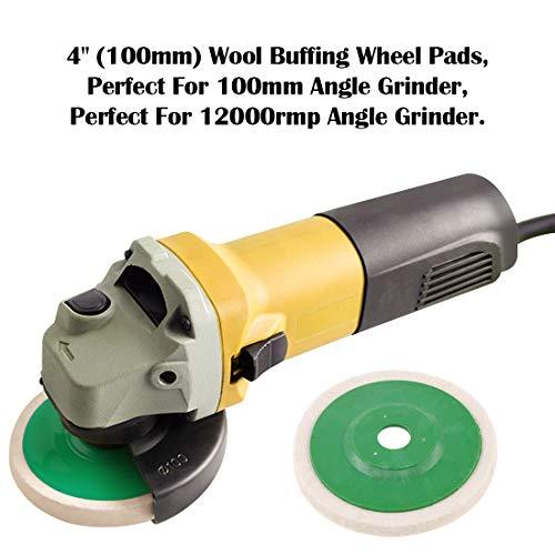 Keadic 10 - Piece 100mm Wool Felt Disc Polishing Buffing Wheel Pad Bore Dia