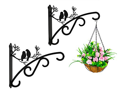 Heavy Duty Plant Brackets Support Up to 30 lbs,Large Size 10inch Outdoor Indoor Garden Brackets for Hanging Baskets, 3 Wall Hooks for Lantern/Light/Bird Feeder, Wrought Iron Gardening Gifts,Pack of 2