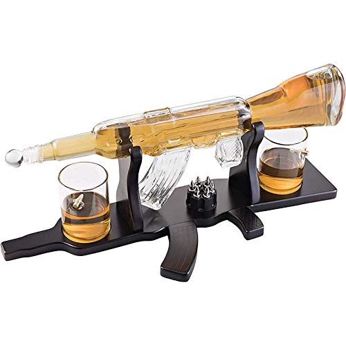 KPTKP Conjunto de decantores de Whisky, Botella de Whisky en Forma de Pistola de 1000 ml con 2 Tazas de Bala y Base de Madera, Gafas sopladas a Mano 100% sin Plomo para Todos los espíritus