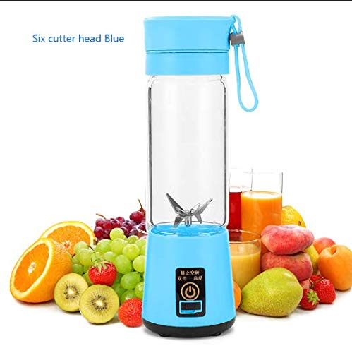 100% BPA Free Blender Handheld Hexagon Blender Automatic Portable Mini USB Rechargeable Shake and Smoothie Multi-function Electric Mixer (Blue)