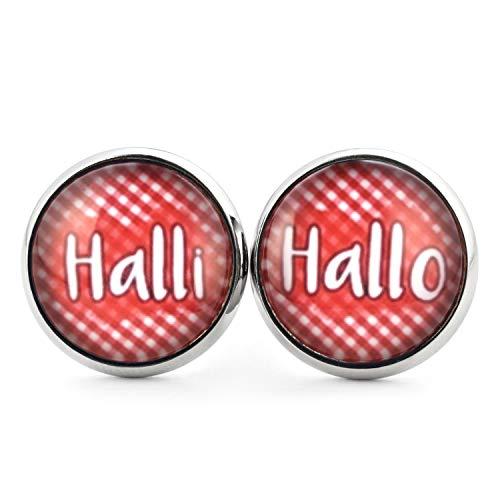 SCHMUCKZUCKER Damen Ohrstecker mit Spruch Motiv Halli Hallo witzige Edelstahl Stecker Ohrringe Silber Rot Weiss Kariert 14mm