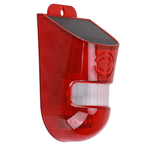 CZZ11 Solar Security Light Alarm, IP65 Waterproof PIR LED Motion Sensor Flashing Light Lamp, 110 Decibels Siren Sound Alert & 6Leds Flash Warning Strobe Security Alarm System for Farm Villa