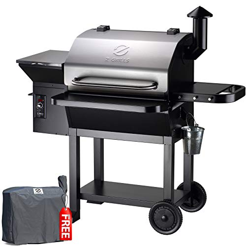 Z GRILLS ZPG-10002E 2020 New Model Wood Pellet Grill & Smoker, 8 in 1 BBQ Grill Auto Temperature Control, 1060sq, 1060 sq in Stainless