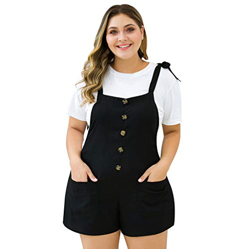 Aniywn Women s Plus Size Overalls Shorts Sleeveless Button Casual Jumpsuit Rompers with Pockets Black