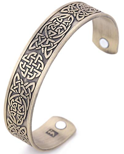 My Shape Classic Irish Celtic Knot Bracelet Magnetic Therapy Cuff Bangle Irish Pattern Jewelry (Antique Bronze)