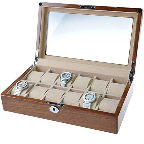 Caja de presentación de Relojes de Madera Organizador de Almacenamiento de Joyas con Tapa de Vidrio Cerradura de Seguridad Fuerte Reloj y Caja de joyería para Hombres y Mujeres 12 Ranuras