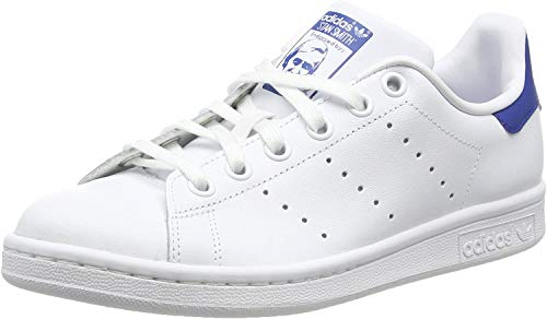Adidas Jungen Stan Smith J S74778 Low-Top, Weiß (FTWR White/FTWR White/EQT Blue S16), 37 1/3 EU