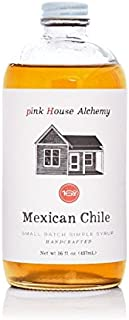 Pink House Alchemy Mexican Chile - Simple Syrup 16 oz - Best Cinco De Mayo Cocktail Drink Mix - Make a Pioneer Woman Spicy Cowgirl Coffee - Only Fresh Peppers Used - Free Book See Package (MC 1)