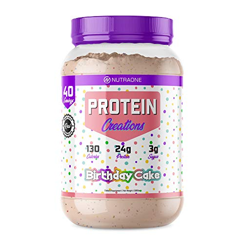 Protein Creations Protein Powder Blend by NutraOne – Indulgently Flavored (Birthday Cake – 2.87 lbs.)