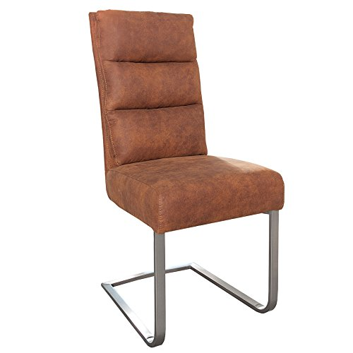 Invicta Interior Design Freischwinger Stuhl Comfort Vintage Light Brown Flachstahl aus gebürstetem Edelstahl