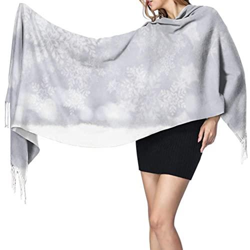 Bokueay Bufanda de moda para mujer Women's Warm Shawl Scarf Fashion Long Shawl Snow Snowflake Fall On Wooden Table Large Soft Imitation Cashmere Pashmina Shawls Wraps Light Tassel Scarf