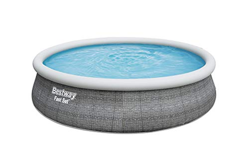 """Bestway 57371E Fast 15' x 42"""" Round Inflatable Set Above Ground Pool, Rattan"""
