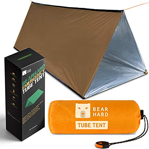 Bearhard Emergency Tent, 2 Person Tube Tent Survival Shelter with Paracord, Stakes Ultralight Survival Tent Emergency Shelter Use as Survival Gear Space Blanket for Camping, Hiking, Kayaking