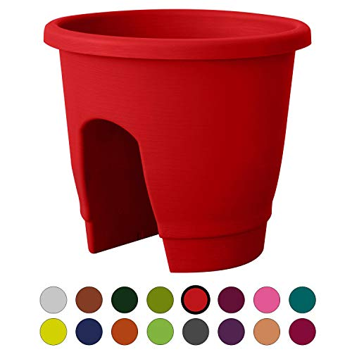 ALMI Balcony Deck Rail Planter Box with Drainage Trays, Bloomers Railing Round Pot, Drainage Holes, Weatherproof Resin Planter, 12 Inch, Indoor & Outdoor, Red