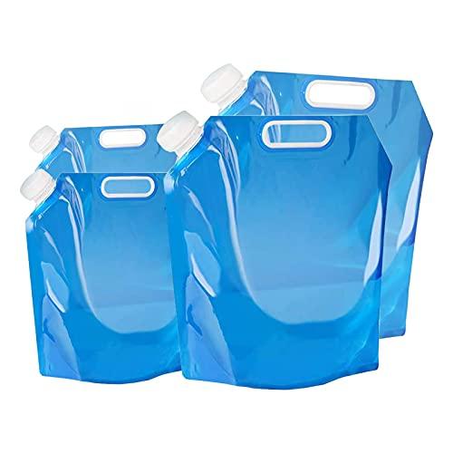 FGen 4PCS Bolsa de Agua Plegable, Bolsa De Agua Plegable Al Aire Libre, Bolsa de Agua Plegable Al Aire Libre, Recipiente de Agua para Senderismo Camping Picnic Viaje Barbacoa (5L/10L)