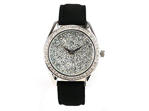 'Bella joya Mujer Reloj Paris, funkelnde Glamour de Reloj, Carcasa Color Plata con Esfera Plateada, Cristales, Correa de Piel auténtica Terciopelo Efecto